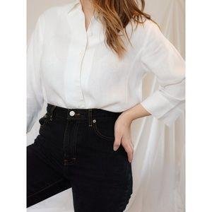 Vintage White Linen Button Up